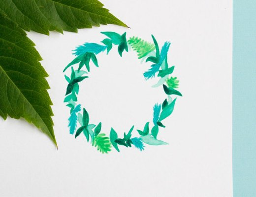 Greenery leaf wreath painting by Arnold & Bird