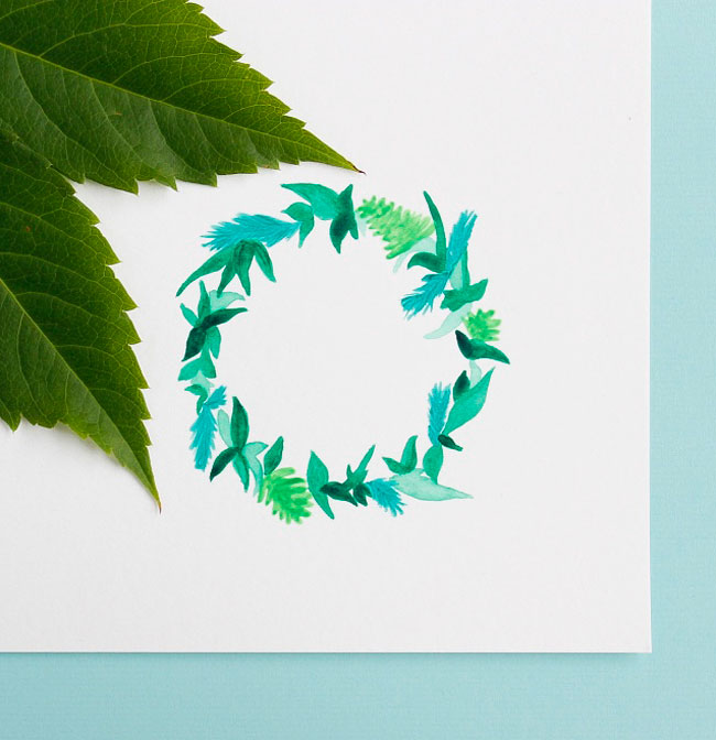 Greenery Pantone Colour of the Year 2017 leaf wreath painting by Arnold & Bird