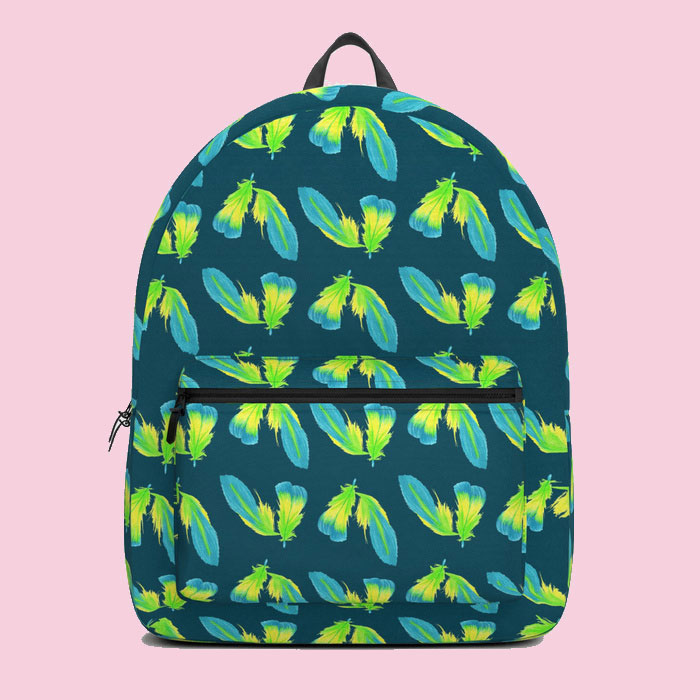 Moody Green Tropical Feather Surface Pattern rucksack by Arnold & Bird on Society6