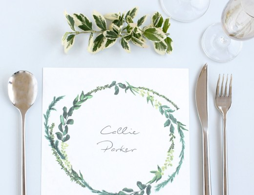 Greenery square wreath wedding placemat by Arnold & Bird