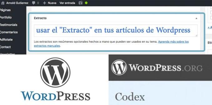 usar excerpt en wordpress