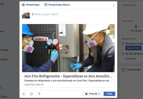 facebook snippet aire frio