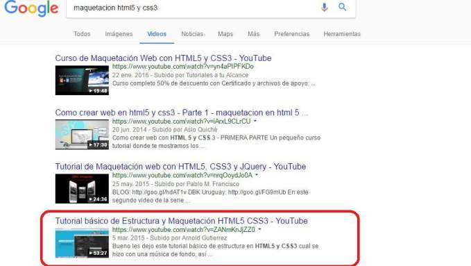resultados google seo youtube video