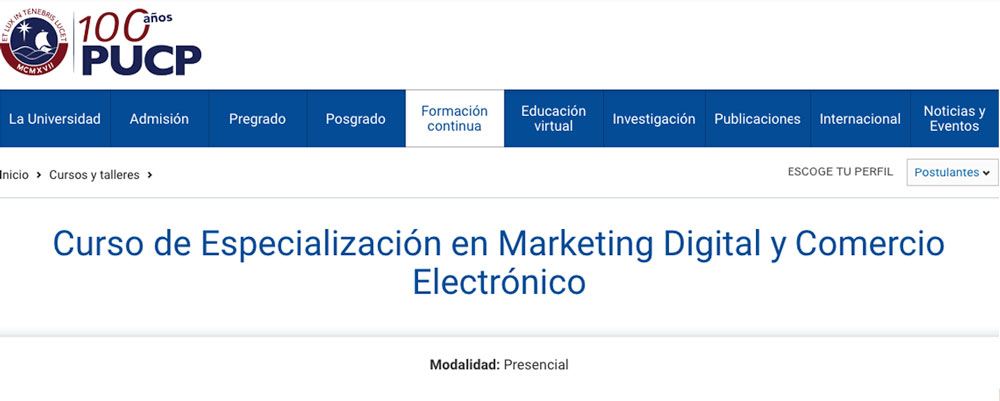 curso especializacion marketing digital pucp peru