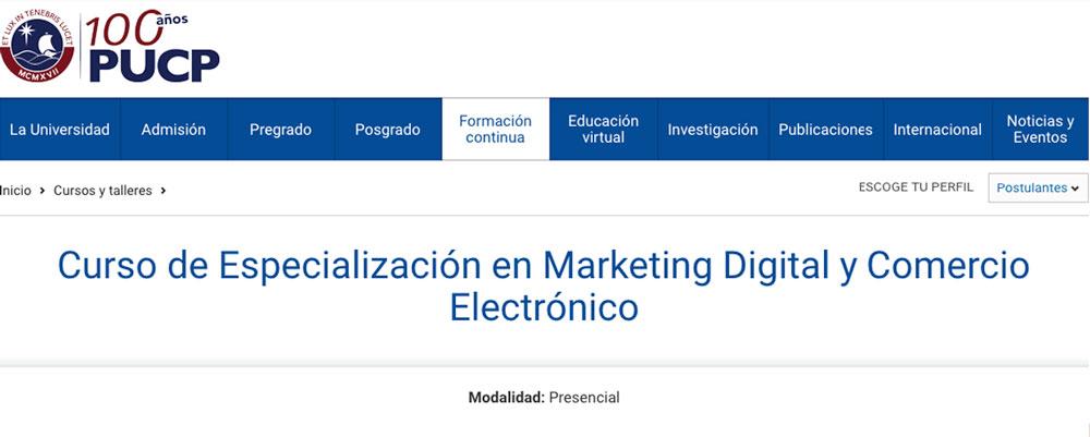 curso especializacion marketing digital pucp peru