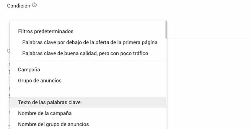 texto palabras clave google ads