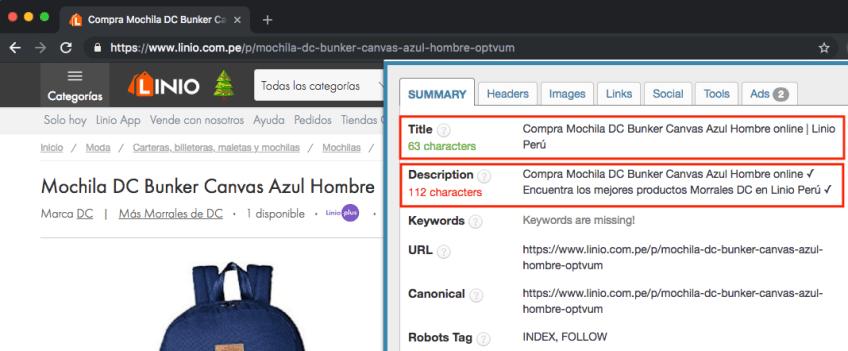 Extensión etiquetas seo navegador
