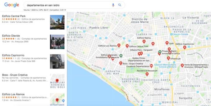 geolocalizacion de ubicación de inmuebles y ventas de departamentos