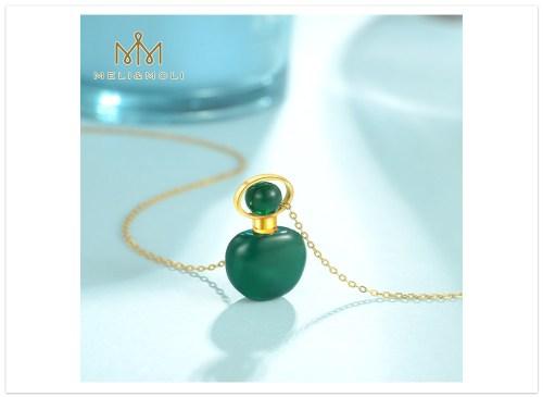 Aromatický prívesok Zelený achát s retiazkou