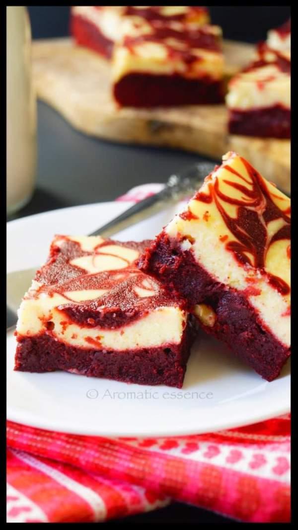 red velvet cheesecake swirl brownies aromatic essence