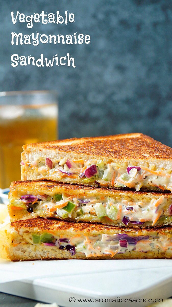 Vegetable mayonnaise sandwich | Mayo sandwich | Grilled mayo sandwich