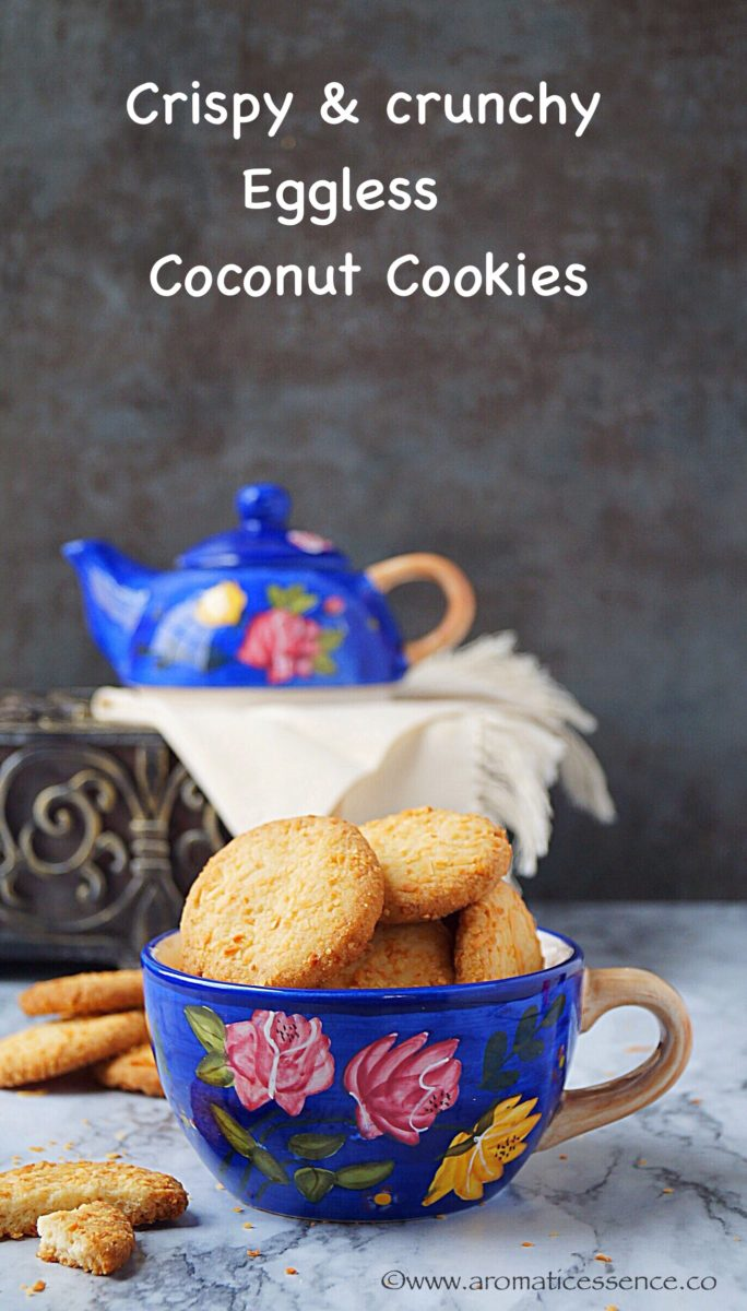 Crispy & crunchy eggless coconut cookies | Indian style coconut biscuits
