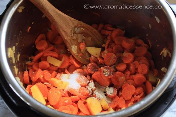 Carrots, potatoes, and seasoning