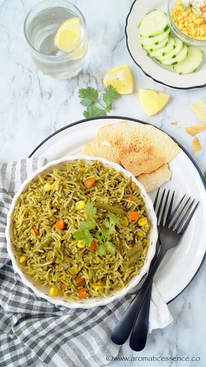 Palak Rice | Palak Pulao | Spinach Pulao