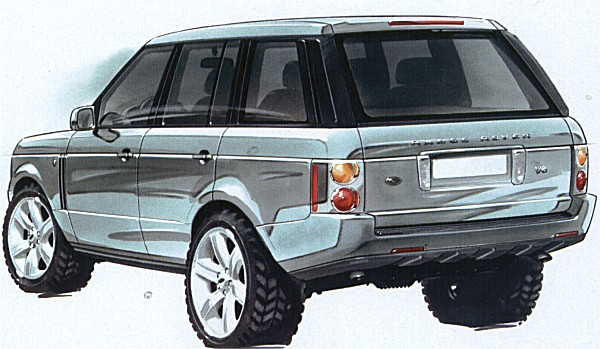 In the run-up to the final design competition, Land Rover worked with BMW and lightly revised Simmonds' design as depicted in this sketch.