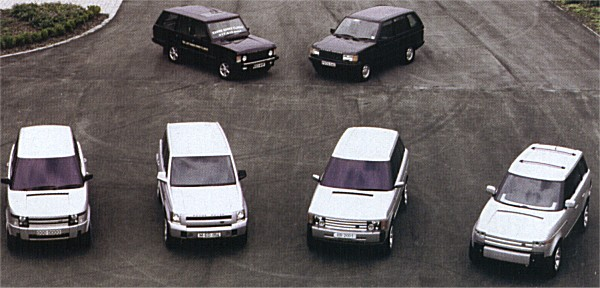 August 1997, and four full-size models are presented to management: the left two were produced by BMW, overseen by Chris Bangle. The two on the right are by Land Rover, and it is Simmons' version (second from right) that attracts the most favourable comments from Wolfgang Reitzle. Unsurprisingly, the Simmonds proposal is also favoured by the Land Rover board, but the design is not signed off at this point, as Reitzle felt that the competition should remain open a little longer. One of the German designs remained in the running, alongside the British proposal - Reitzle did not feel at that point in time, that the British design was quite there yet.