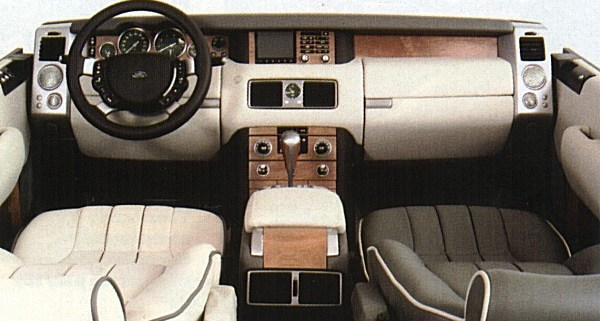 "Full size mock-up of the Range Rover interior shows that the luxury was added to the architectural theme investigated in the original ""Discovery"" sketches. The finished article was a triumph of design, and like Rolls-Royce's designs, the Range Rover's buttons were all operable by a gloved driver. Ford design boss, J Mays described the Range Rover interior as, ""the best I have ever seen""."