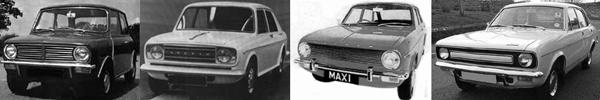 Haynes' World: With the Clubman, Maxi and Marina BLMC had the makings of a new, square-rigged family look. ADO22 (second left), a proposed revision of the 1100/1300 range, would have completed the set, with its indicator and sidelight arrangement a clear legacy of Haynes' time at Ford. The Maxi was soon to receive a Clubman-style grille, thus strengthening the family look.