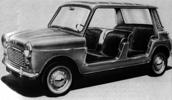 Peter Filby reports that around 20 of these Dick Burzi-styled beach cars were built at Longbridge in the mid-1960s. We have yet to see any photographs of the completed model, but the design was clearly carried over to the Morris-branded, booted versions of the car shown below.