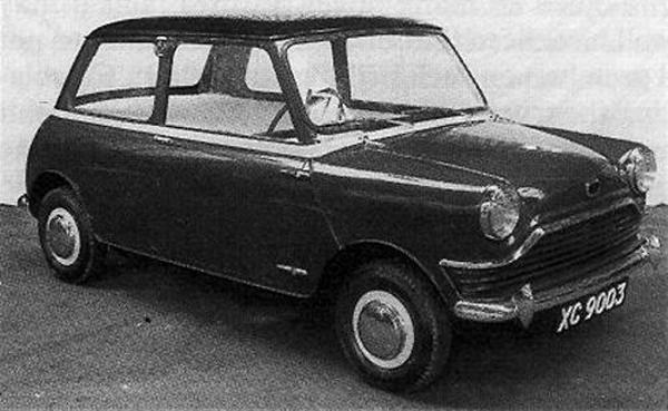 XC9003, July 1957 Fussy, rejected proposal for the Mini; compare with XC9000 and original XC9001 designs