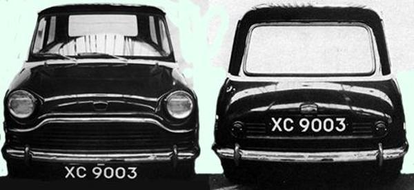 XC9003, July 1957 Front and rear views of the above design, revealing a rather dumpy aspect. Further work required...