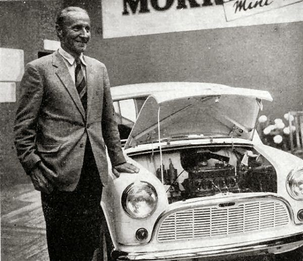 Issigonis and the Mini at its launch in August 1959.