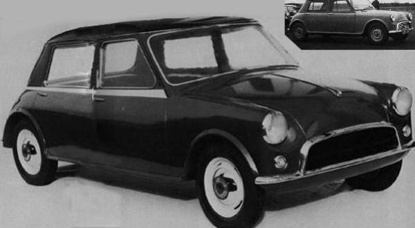 Produced in 1956, XC9000 represented Issigonis' first thoughts for a 1500-class car based on the principles he would later apply to the Mini; this car, however, was rear-wheel drive. Inset is the running prototype produced the following year.