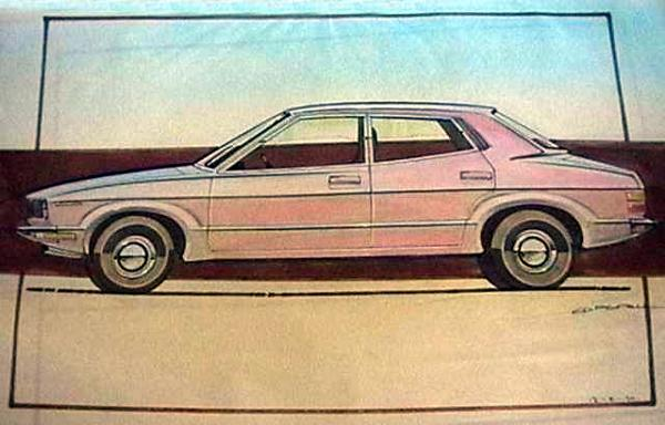 What do you get when you cross a coke-bottle design with a wedge? This proposal for a three-box saloon was ruled out early in the car's development, with Saab and Rover P8 overtones. (Picture: John Capon)