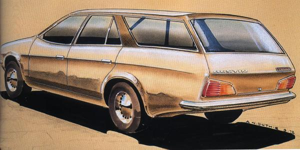 "1973 and there is already serious consideration being given to producing an ADO71 ""Countryman""... well, serious enough to warrant this styling sketch."