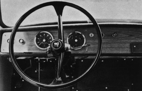 Triumph-era models are easily identifiable from the driver's seat, thanks to the Standard-Triumph badge on the steering wheel boss.