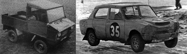 The Triumph Pony utility vehicle, and the unique 4wd Triumph 1300 rallycross car that it spawned.