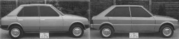 "Two 1974 proposals for C2: as can be seen from these pictures, there has been some effort expended into retaining some vestage of resemblance with the SIMCA 1100, whist adopting a more angular 1970s look. Note also, the slight ""kick up"" at the back of the car, which seems to pay tribute to the similarly shaped 1100 rear. It should be noted that it was the concept on the left that was approved for further development..."