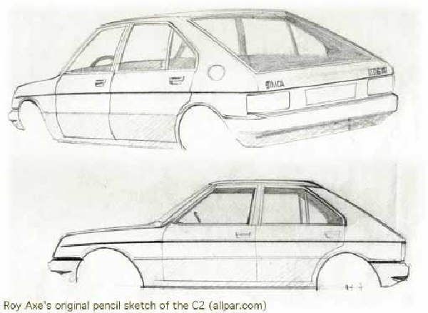 "Chrysler Horizon development story: The original sketch as produced by Roy Axe; as this point in the proceedings, the SIMCA 1100 replacement was known as the ""C6 SWB"" (short wheelbase)."