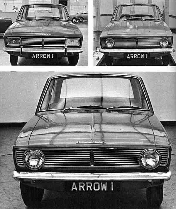 By March 1965, this frontal treatment had also been signed off for the Hillman version, in favour of the two proposals immediately above it.