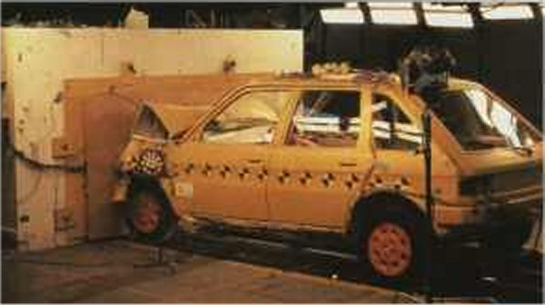 Crash testing at MIRA in 1977 - the Maestro performed well in the mandatory 30mph impact test.