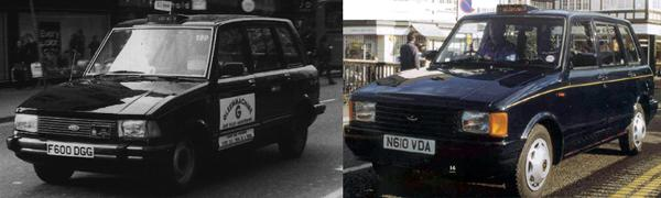 The reborn MCW Metrocab (left) arrived in 1986. The Series 2 version (right) moved the game on, as it could be licensed to carry 6 passengers.
