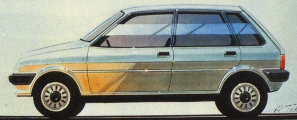This Roger Tucker drawing demonstrates that the company initially thought of the five-door variant during 1978. Its eventual launch in 1984 was so far behind the three-door version because it had never been part of the original ADO88 programme, and thus involved much previously uplanned re-engineering work.