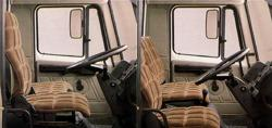 Cabin set in 'truck-like' (left) and 'car-like' (right) modes