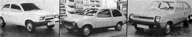 Three proposals for the ADO74: On the left a Harris Mann design, with distinct Princess overtones, the middle design lacked style, even though it made it to full-size styling buck. On the right is Harry Webster's Michelotti-styled supermini proposal; very stylish and European in appearance.