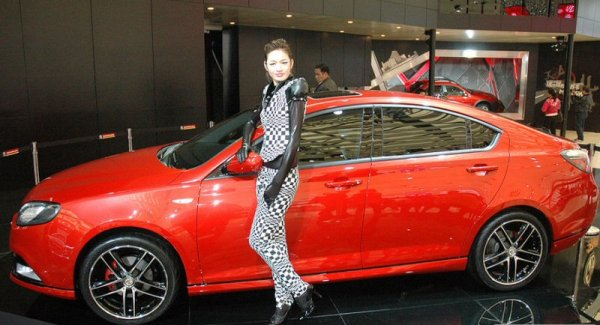 Pretty girl and MG's vitally important new hatchback, in concept form
