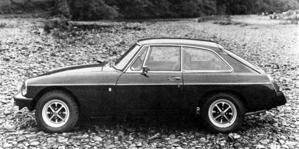 A 1978 press photograph: This MGB GT incorporated polyurethane bumpers and British Leyland badges, which were despised by MG purists worldwide. This profile view shows just how clean the Pininfarina-modified GT design looked, and why this version was still justifiably popular, even after the launch of the Triumph TR7.