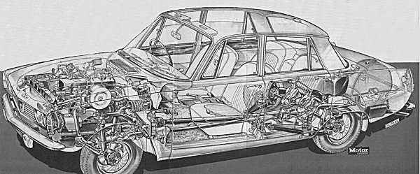 Clearly visible in this Motor magazine cutaway, is the unique front suspension design. Other noteworthy features are the baseframe design, overhead cam engine, and DeDion rear suspension.