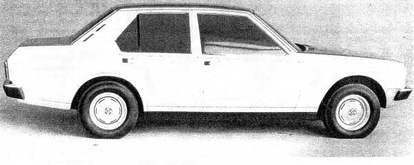 "Michelotti's quarter-scale model P82 De Luxe saloon (short nose). Picture: ""P82 Status report"", by Barry Anderson and Reg Fulford, Sep 1974, and supplied by Merve Sheather."