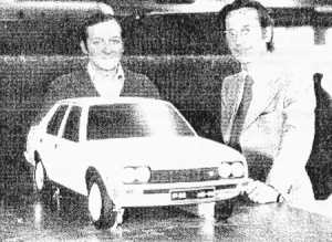 Giovanni Michelotti with the quarter scale model, pictured at his studio