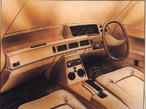 Bache interior made it to pre-production almost unchanged. Note the quartic wheel in this sketch (c.1969), and then compare this with the same picture in the SD1 development story. (Picture: MOTOR magazine), supplied by Jerry Ford.