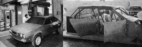 Two stages of ADO71 development. Left: The final clay model is analysed by a DEA computer for in order to produce an exact set of dimensions - this process will produce the digrams that will then go to Pressed Steel Fisher so that it could produce the body panels for the new car. Right: This development model is used for producing a final interior. If you look closely, you can just see a proposal for ADO73, a frontally facelifted Marina that never appeared. (Pictures supplied by Kevin Davis)