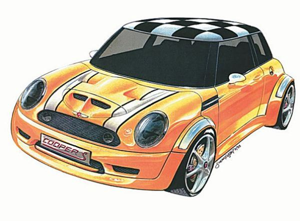 The Cooper S version of the MINI was in development long before the first cars hit the streets in 2001, as this Frank Stephenson sketch dating from 1998 clearly demonstrates.
