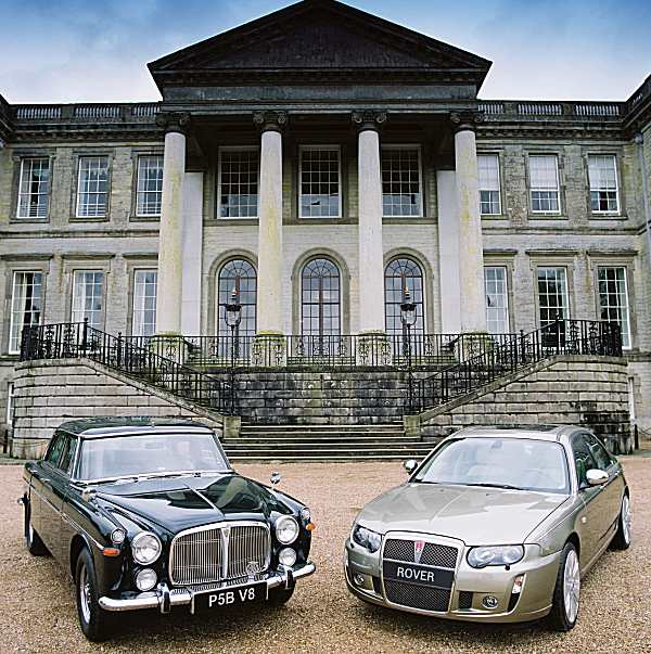 MG Rover played on the traditional idea of a V8 engined Rover saloon. Here, the car is displayed alongside a P5B, with which it has to be said, does share a number of styling cues.