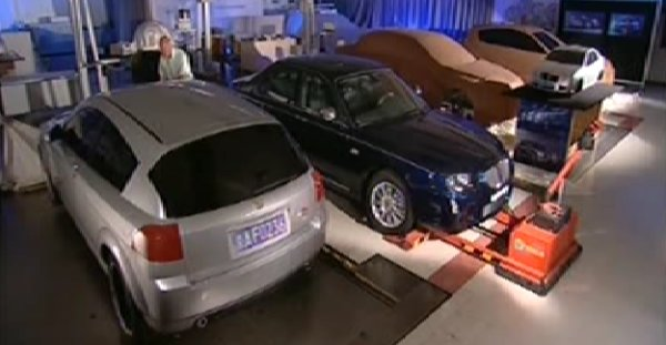 RDX60 at the RDS Automotive design studios at Southam in Warwickshire: as can be seen, the silver car is a late scheme (Shanghai number plates), but is still very closely related to the earliest TWR-era prototype renderings. (Picture: ITV)