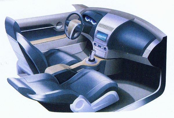 Cool blue: Another progressive interior design, but one that features extensive use of wood in the centre console.